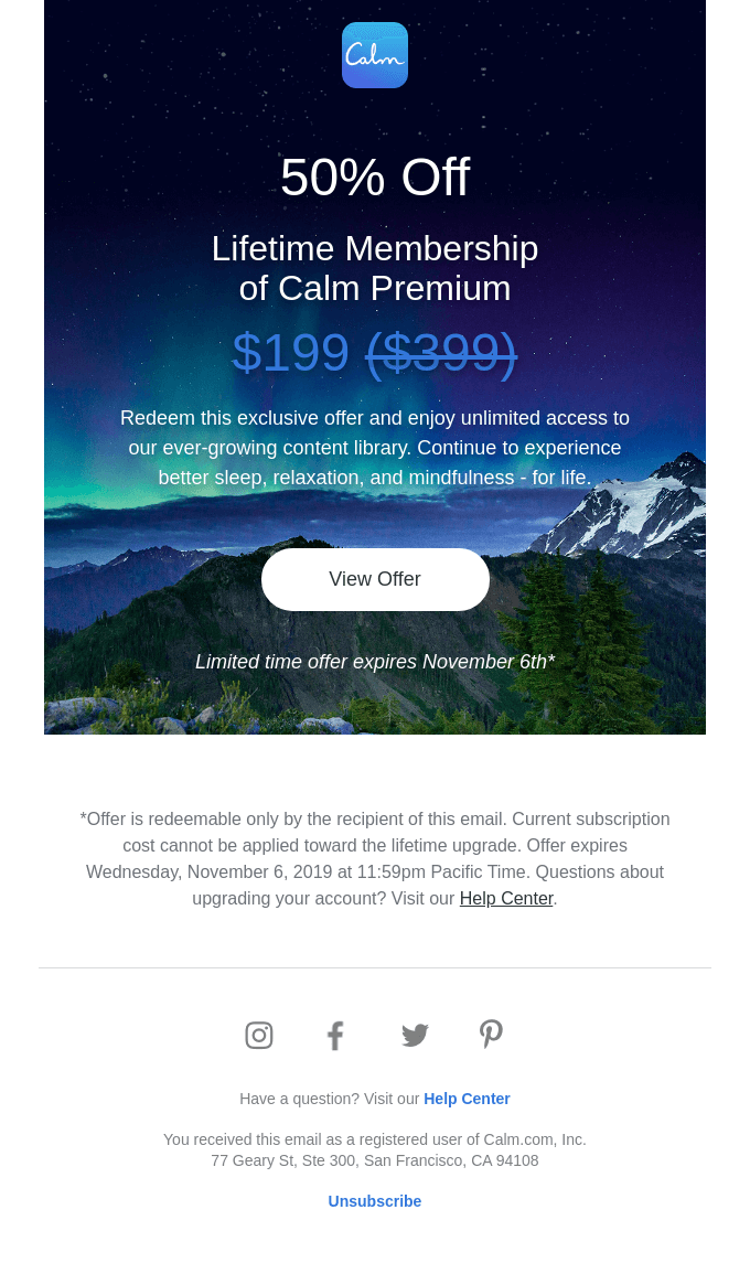 Email from Calm