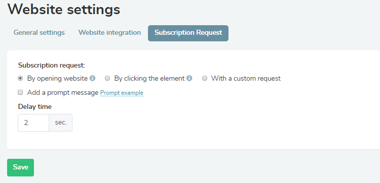 Configure the type of subscription request