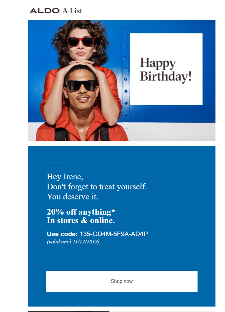 Birthday email with a discount