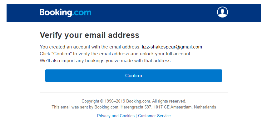 Booking.com subscription confirmation email