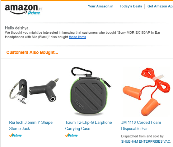 A cross-selling email from Amazon