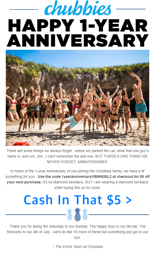 Anniversary email from Chubbies