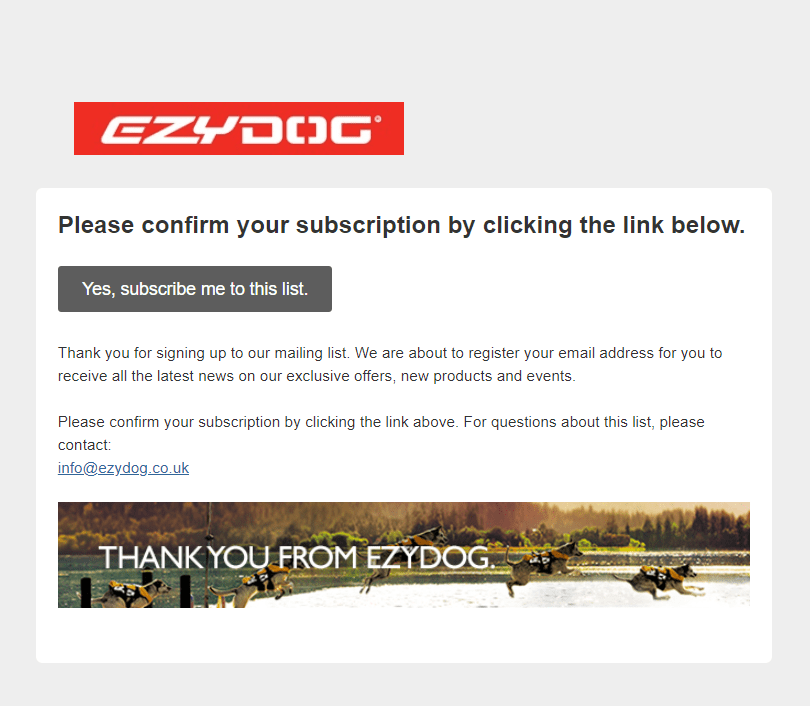 EzyDog subscription confirmation email
