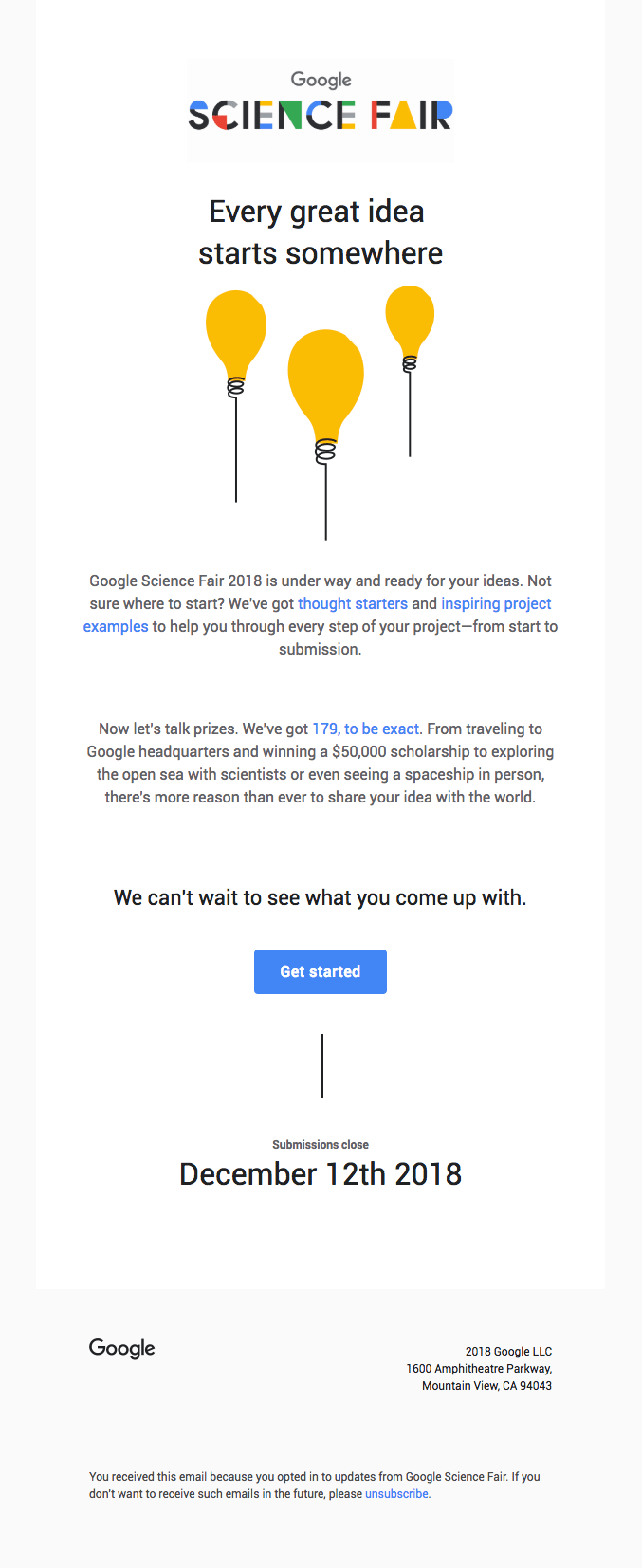 Google Science Fair invitation