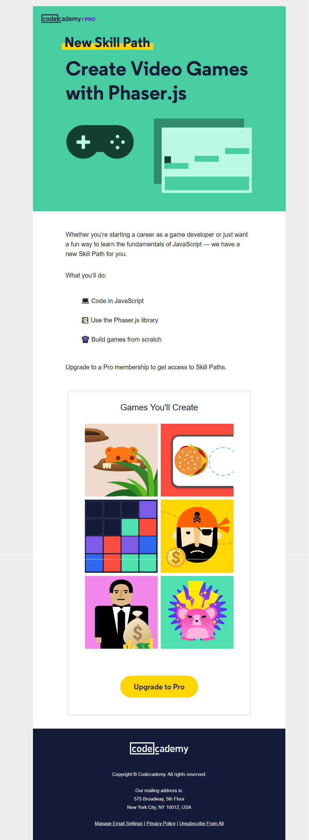 A product launch email
